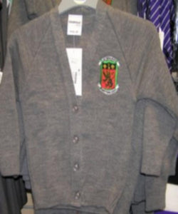 Saint Pierre School - Knitted Grey Cardigan with School Logo | School Uniform Centres