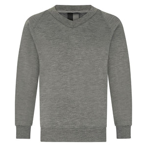 Millhouse Primary School and Nursery - Mid Grey V-Neck Sweatshirt Jumper with School Logo | School Uniform Centres