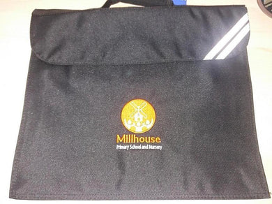 Millhouse Primary School and Nursery - Black Bookbag with School Logo - Schoolwear Centres | School Uniform Centres