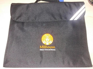 Millhouse Primary School and Nursery - Black Bookbag with School Logo BLACK / BOOK BAGS School Uniform Centres BOOK BAGS school-uniform-centres.myshopify.com Schoolwear Centres