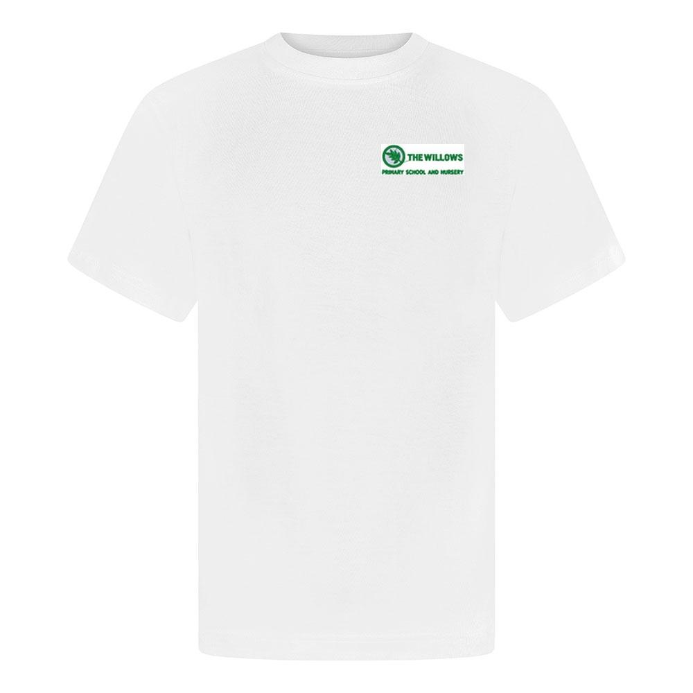The Willows Primary School - White P E T-Shirt with School Logo | School Uniform Centres