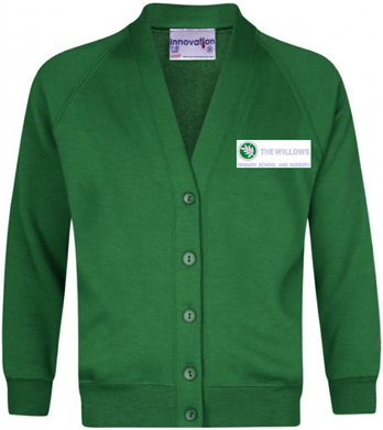 The Willows Primary School - Emerald Sweatshirt Cardigan with School Logo | Schoolwear Centres