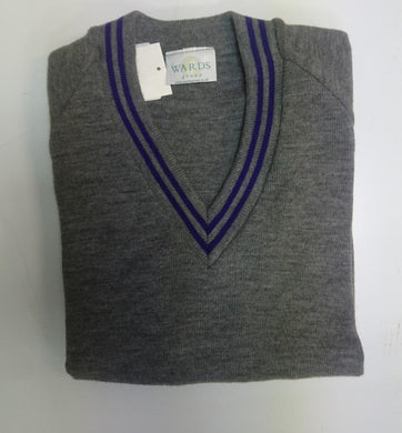 KNITTED GREY JUMPER WITH PURPLE TRIM - Schoolwear Centres | School Uniform Centres