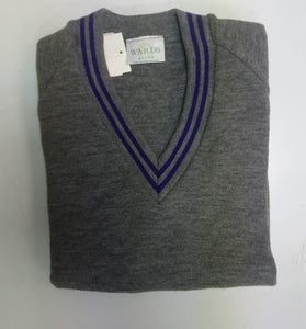 KNITTED GREY JUMPER WITH PURPLE TRIM - Schoolwear Centres