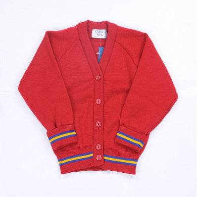 Bournes Green School - Red Knitwear (Knitted) Cardigan with Blue and Gold Trim - Schoolwear Centres