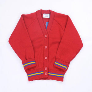 Bournes Green School - Red Knitwear (Knitted) Cardigan with Blue and Gold Trim - Schoolwear Centres | School Uniform Centres
