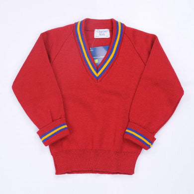 Bournes Green School - Red Knitwear (Knitted) Jumper with Blue and Gold Trim - Schoolwear Centres | School Uniform Centres