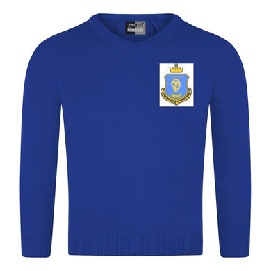 St Teresa's Catholic Primary School - Royal Knitted V-Neck Jumper with School Logo - Schoolwear Centres | School Uniform Centres