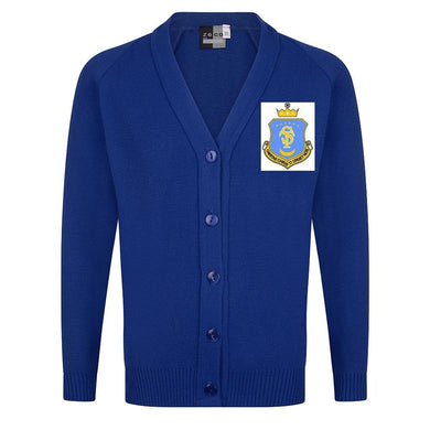 St Teresa's Catholic Primary School - Royal Knitted Cardigan with School Logo | Schoolwear Centres