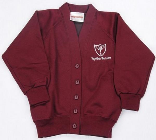 Earls Hall Primary School - Sweatshirt Cardigan with School Logo - Schoolwear Centres