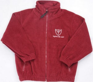 Earls Hall Primary School - Maroon Fleece Jacket with School Logo - Schoolwear Centres