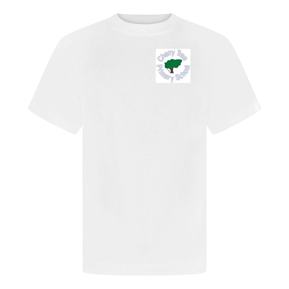 Cherry Tree Primary School - White P E T-Shirt with School Logo - Schoolwear Centres | School Uniform Centres