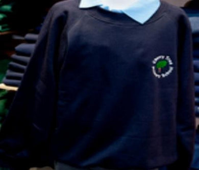 Cherry Tree Primary School - Navy (R-Neck) Sweatshirt with School Logo | School Uniform Centres