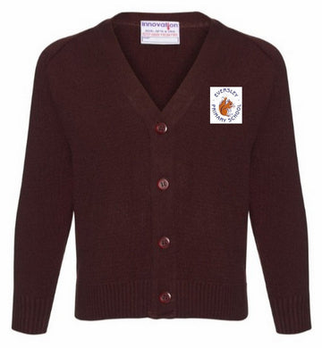 Eversley Primary School - Brown Knitted Cardigan with School Logo | School Uniform Centres