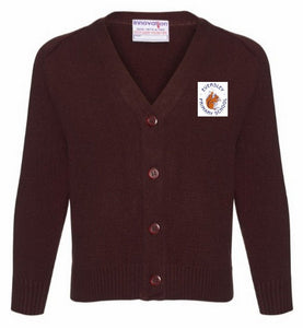 Eversley Primary School - Brown Knitted Cardigan with School Logo - Schoolwear Centres