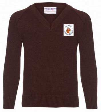 Eversley Primary School - Brown Knitted V-Neck Jumper with School Logo - Schoolwear Centres