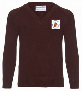 Eversley Primary School - Brown Knitted V-Neck Jumper with School Logo | School Uniform Centres