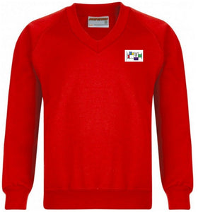 Felmore Primary School - Red Sweatshirt V-neck Jumper with School Logo | School Uniform Centres