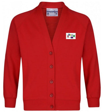 Felmore Primary School - Red Sweatshirt Cardigan with School Logo - Schoolwear Centres