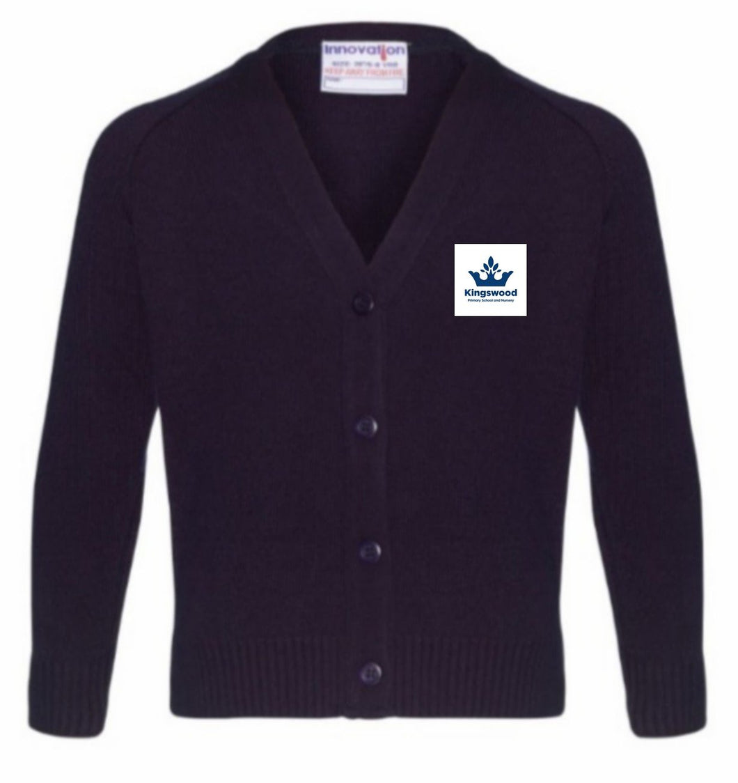 Kingswood Primary School - Navy Knitwear (Knitted) Cardigan with School Logo NAVY / 40 School Uniform Centres Knitwear Cardigan school-uniform-centres.myshopify.com Schoolwear Centres