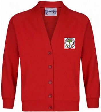 Northlands Junior School - Red Sweatshirt Cardigan with School Logo | School Uniform Centres