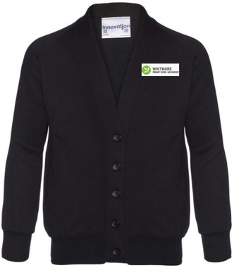 Whitmore Primary School and Nursery - Black Sweatshirt Cardigan with School Logo | School Uniform Centres