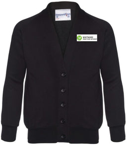 WHITMORE PRIMARY SCHOOL & NURSERY - BLACK SWEAT CARDIGAN WITH SCHOOL LOGO