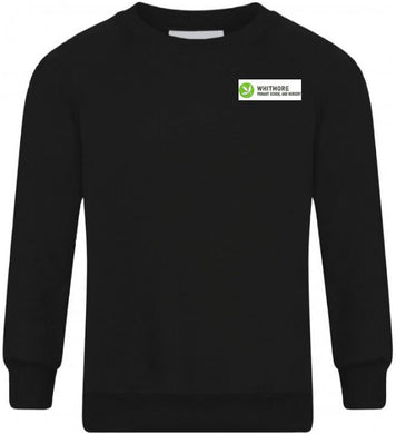 WHITMORE PRIMARY SCHOOL & NURSERY - BLACK R-NECK SWEATSHIRT WITH SCHOOL LOGO