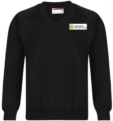 WHITMORE PRIMARY SCHOOL & NURSERY - BLACK V-NECK SWEATSHIRT WITH SCHOOL LOGO