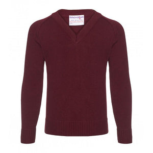 Boys Knitted V-Neck Jumpers in Black | Navy | Grey | Bottle | Maroon | Brown | Red | Royal | Purple - Schoolwear Centres | School Uniform Centres