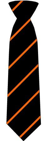 Mayflower High School Ties BLK/GOL/ORA / CLIP-ON TIE School Uniform Centres Tie school-uniform-centres.myshopify.com Schoolwear Centres