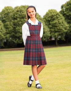 Prestwick Tartan Pinafore | Bottle  | Grey | Maroon | Red | Royal Blue  Schoolwear Centres Pinafore school-uniform-centres.myshopify.com Schoolwear Centres