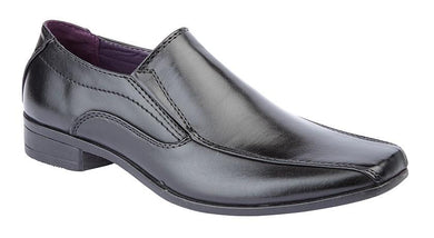 US Brass Twin Gusset PVC Sole Shoe in Black - B501A - Schoolwear Centres | School Uniform Centres