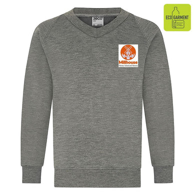 Millhouse Primary - Mid Grey V-Neck Sweatshirt Jumper with School Logo - Schoolwear Centres | School Uniform Centres