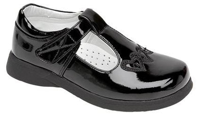 Girls Velcro - Touch Fastening Boat Shoe in Black - School Shoes C732AP - Schoolwear Centres