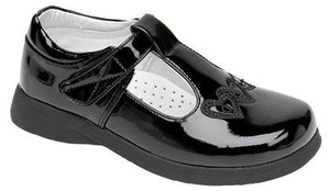 Girls Velcro - Touch Fastening Boat Shoe in Black - School Shoes C732AP