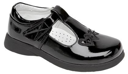 Girls Velcro - Touch Fastening Boat Shoe in Black - School Shoes C732AP - Schoolwear Centres | School Uniform Centres