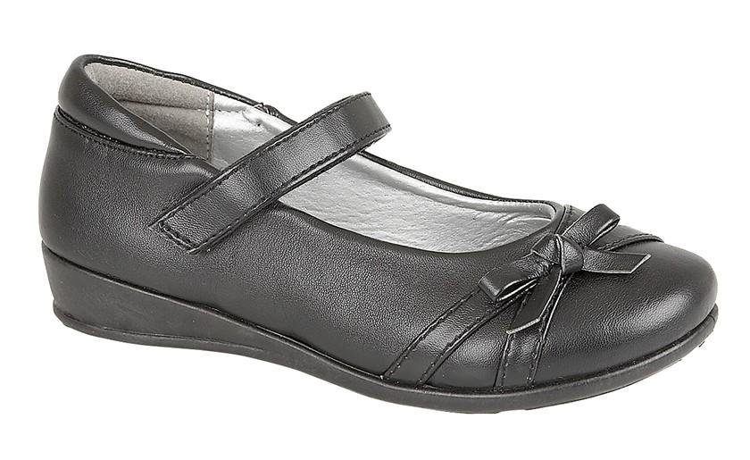 US BRASS (788A) 'DRIZZLE'  Touch Fastening Return Bar Shoe Black / 2 Schoolwear Centres Shoes school-uniform-centres.myshopify.com Schoolwear Centres