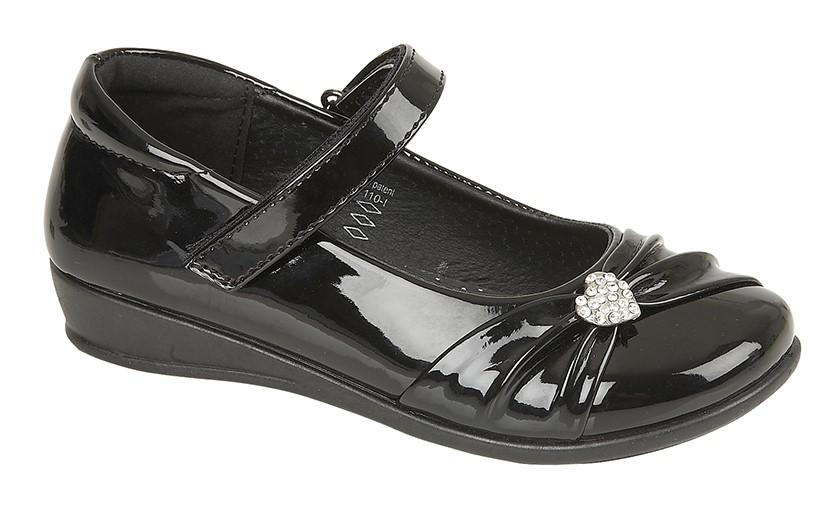 US BRASS (C794A) 'PAIGE II'  Touch Fastening Bar Diamante Trim Shoe Black Patent PU / 2 Schoolwear Centres Shoes school-uniform-centres.myshopify.com Schoolwear Centres