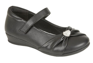US BRASS (C794A) 'PAIGE II'  Touch Fastening Bar Diamante Trim Shoe Black Matt PU / 2 Schoolwear Centres Shoes school-uniform-centres.myshopify.com Schoolwear Centres