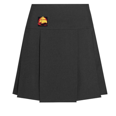 Mayflower High - Drop Waist Black Pleated Skirt with School Logo Black / School Logo / 40/24 School Uniform Centres Skirts school-uniform-centres.myshopify.com Schoolwear Centres