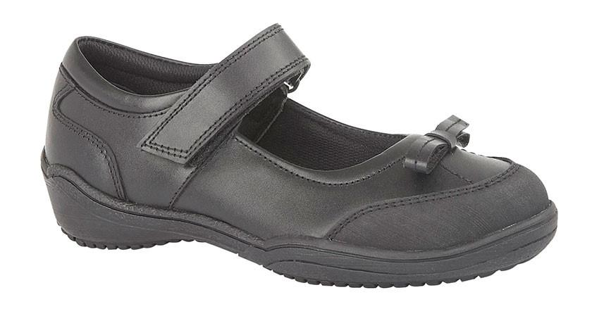 ROAMERS  [KIDS G699A]  Touch Fastening Bow Girls Shoe Black / 13 Schoolwear Centres Shoes school-uniform-centres.myshopify.com Schoolwear Centres