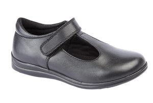 ROAMERS  [KIDS]  Touch Fastening T-Bar Girls Shoe Black / 12 Schoolwear Centres Shoes school-uniform-centres.myshopify.com Schoolwear Centres