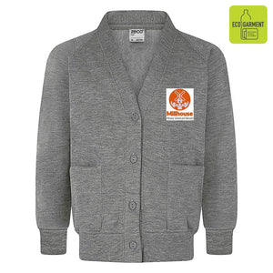 Millhouse Primary - Mid Grey Sweatshirt Cardigan with School Logo MID GREY / 38 - S School Uniform Centres Sweatshirts Cardigan school-uniform-centres.myshopify.com Schoolwear Centres