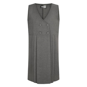 Four Button Pinafore 9 - 10 YEARS / GREY Schoolwear Centres Pinafore school-uniform-centres.myshopify.com Schoolwear Centres