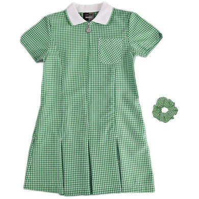 A-Line Gingham - Summer Dress - bottle green
