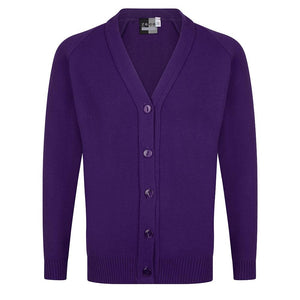 Girls Knitted Cardigan in Black | Navy | Grey | Bottle | Maroon | Brown | Red | Royal | Purple - Schoolwear Centres | School Uniform Centres