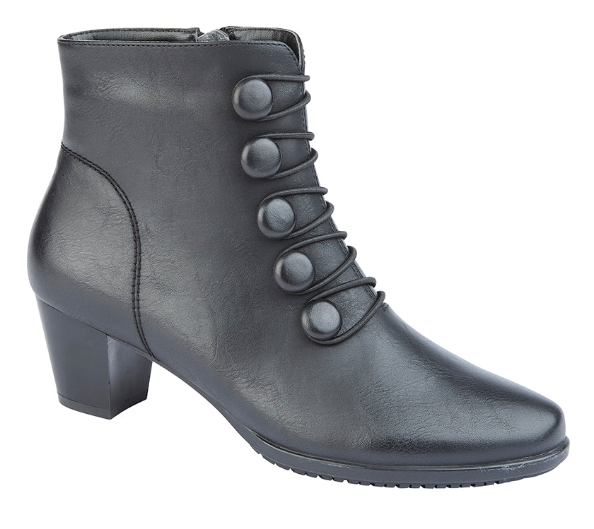 CIPRIATA  [MF]  'LUCILLA'  Button & Inside YKK Zip Ankle Boot Black / 8 Schoolwear Centres Shoes school-uniform-centres.myshopify.com Schoolwear Centres