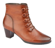 CIPRIATA  [MF]  'LUCILLA'  Button & Inside YKK Zip Ankle Boot Tan / 8 Schoolwear Centres Shoes school-uniform-centres.myshopify.com Schoolwear Centres