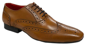 5 Eye Brogue Oxford Shoe Tan Burnished Leather / 12 Schoolwear Centres Shoes school-uniform-centres.myshopify.com Schoolwear Centres
